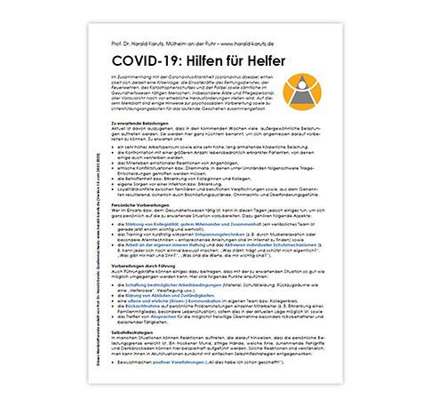 COVID-19: Hilfen für Helfer